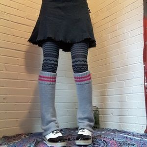 Vintage Gray Legwarmers. Roller girl with stripes.